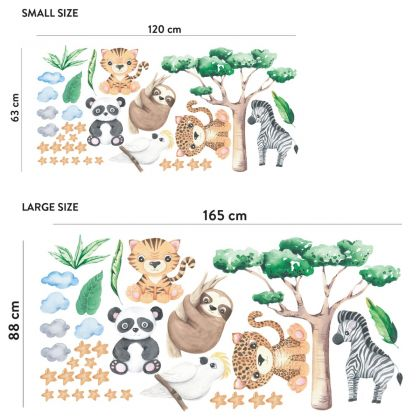 Jungle Animals Nursery Wall Stickers,Animal Safari Wall Vinyl Wall Stickers for Kids Room