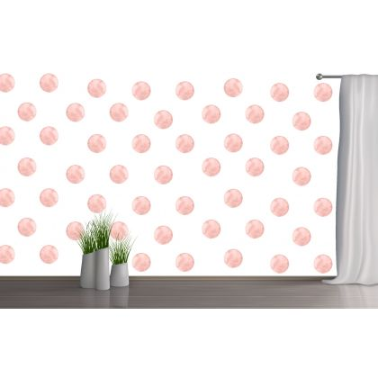 Set of 20 Rose Gold Polka Dots Wall Stickers, Watercolour Effect Pattern for kids room wall stickers