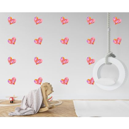Set of 20 Multicolour Heart Wall Decals, Watercolour Effects Pattern for kids room wall stickers