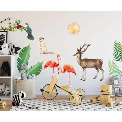 Jungle Animals Flamingo Nursery Wall Stickers,Animal Safari Wall Vinyl Wall Stickers for Kids Room