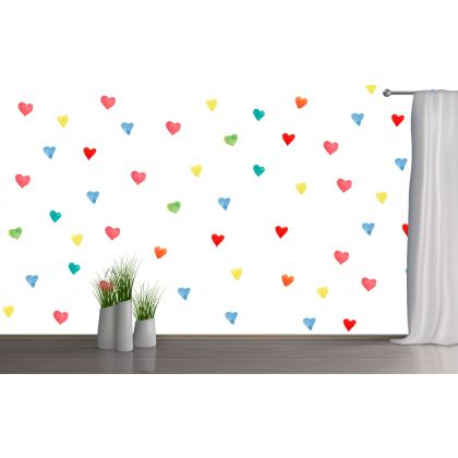 Set of 20 Rainbow Colours Heart Wall Decals, Watercolour Effect Pattern for kids room wall stickers
