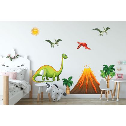 Dinosaur Wall Decal with Volcano for Kids Room Jurassic Park