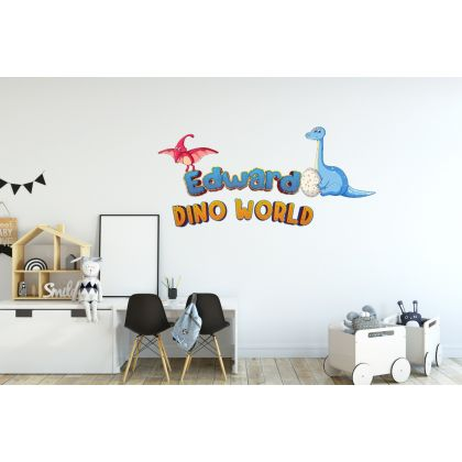Custom Name Dino World Wall Decal for Kids Room Jurassic Park
