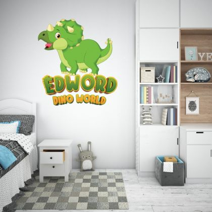 Custom Name Triceratops Dinosaur Wall Decal for Kids Room Jurassic Park