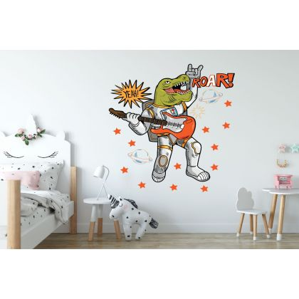 Roar Dinosaur with Guitar Wall Decal for Kids Room Jurassic Park