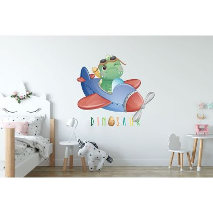 Flying Pilot Dinosaur Wall Decal for Kids Room Jurassic Park