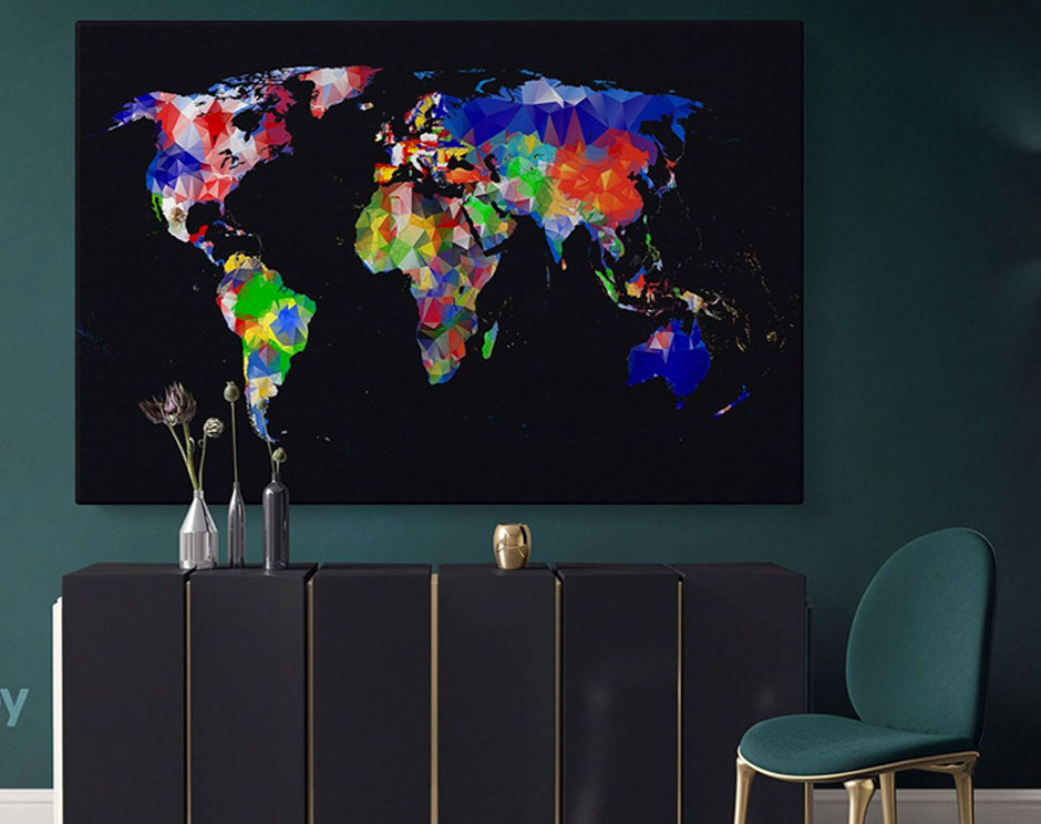 World Map Canvas for Travel-Inspired Theme Décor