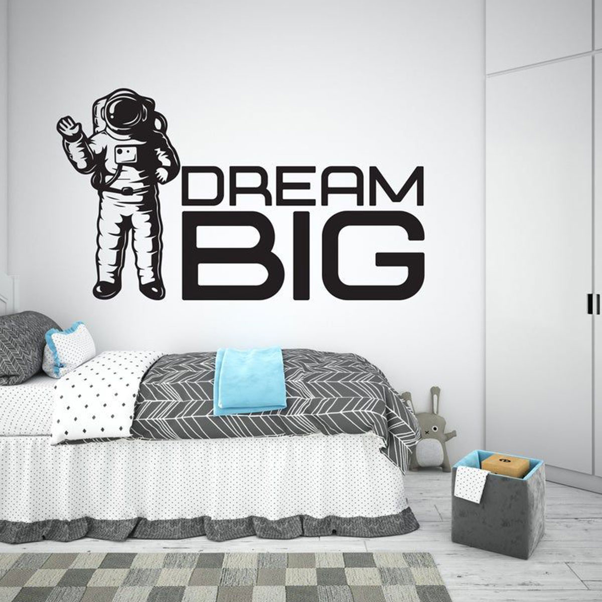 Outer Space Alien Printed Wall Decal Space Room Alien Rocket Decal Kids Space Decor Space Decal Repositionable Wall Decal